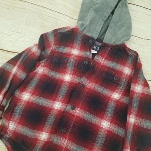 Children's  place boys flannel hooded shirt
